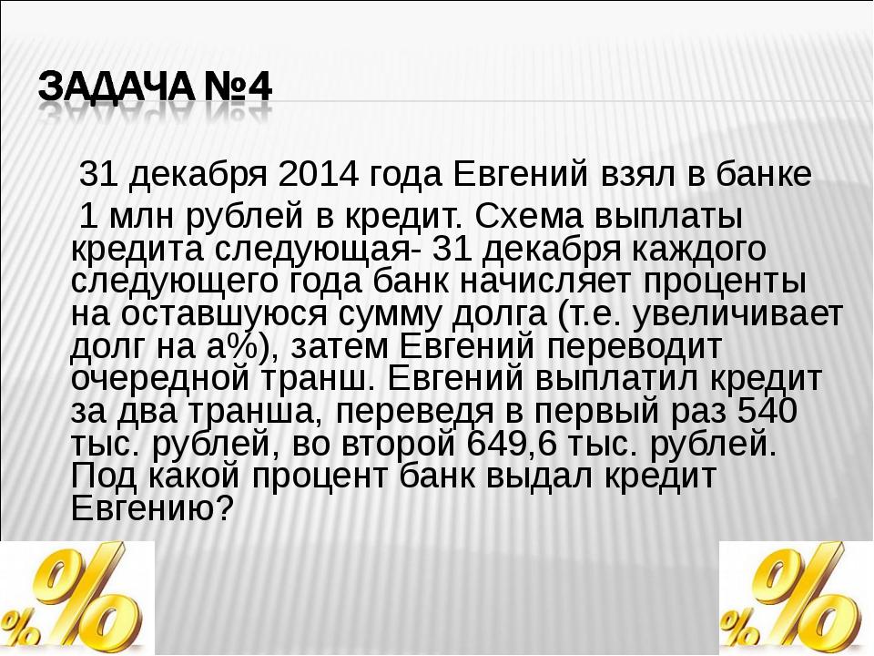 31 декабря 2014 года Евгений взял в банке 1 млн рублей в кредит. Схема выпла...