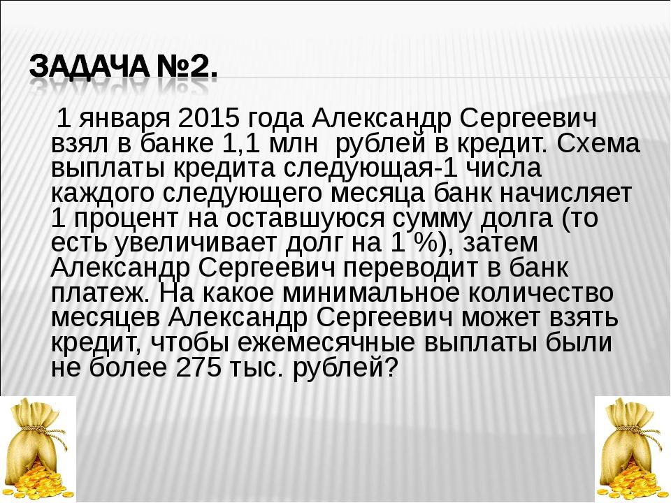 1 января 2015 года Александр Сергеевич взял в банке 1,1 млн рублей в кредит....