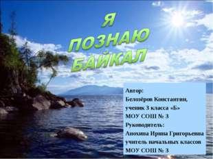 Автор: Белозёров Константин, ученик 3 класса «Б» МОУ СОШ № 3 Руководитель: Ан