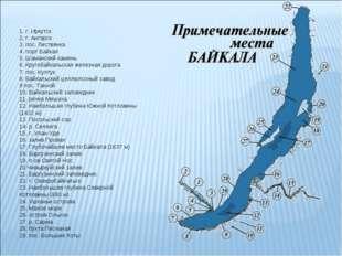 1. г. Иркутск 2. г. Ангарск 3. пос. Листвянка 4. порт Байкал 5. Шаманский ка