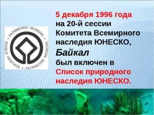 5 декабря 1996 года на 20-й сессии Комитета Всемирного наследия ЮНЕСКО, Байка