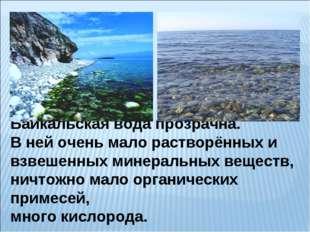 Байкальская вода прозрачна. В ней очень мало растворённых и взвешенных минера