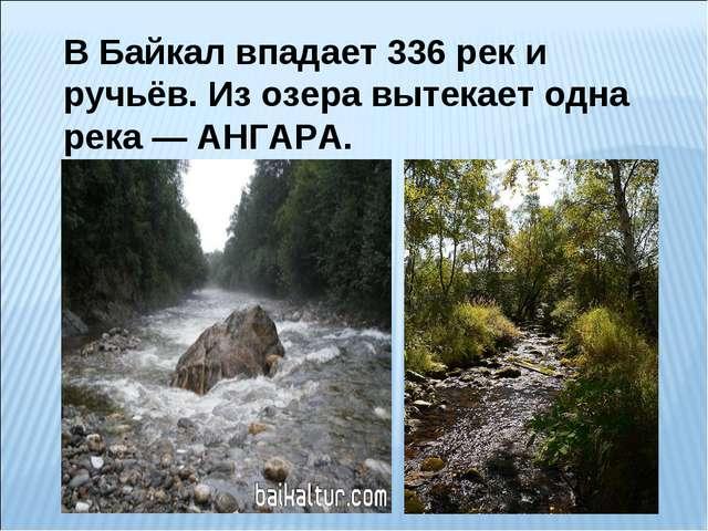 В Байкал впадает 336 рек и ручьёв. Из озера вытекает одна река— АНГАРА.