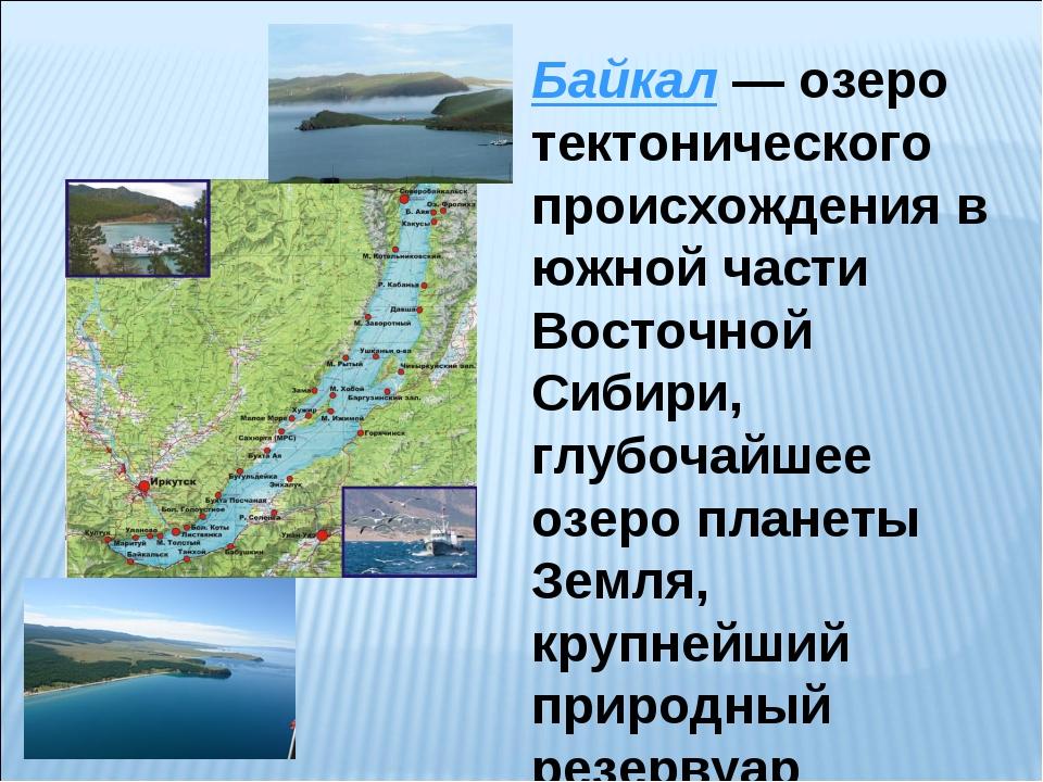 Байкал— озеро тектонического происхождения в южной части Восточной Сибири, г...