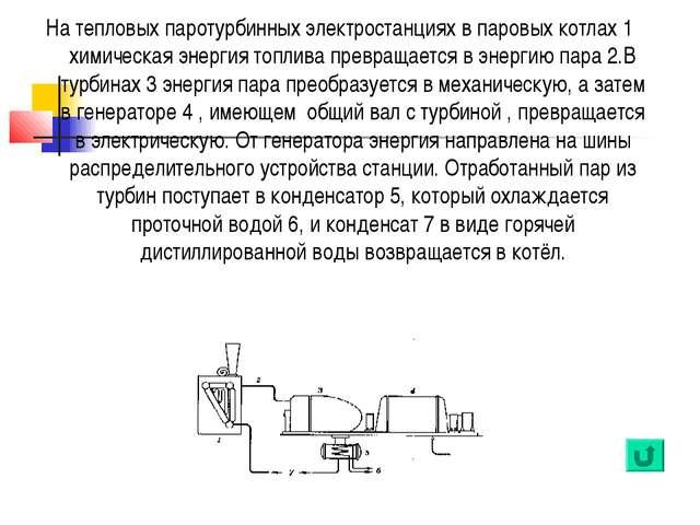 На тепловых паротурбинных электростанциях в паровых котлах 1 химическая энерг...