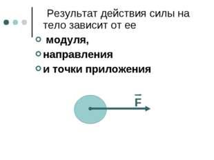 Результат действия силы на тело зависит от ее модуля, направления и точки пр