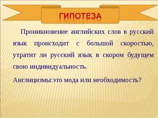 Проникновение английских слов в русский язык происходит с большой скоростью,