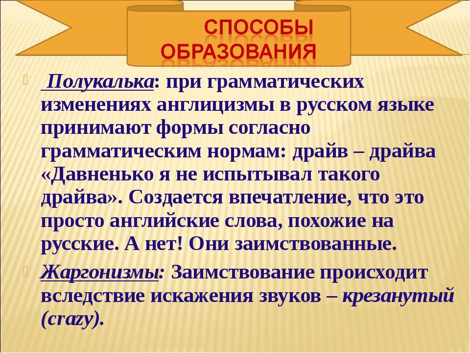 Полукалька:при грамматических изменениях англицизмы в русском языке принима...