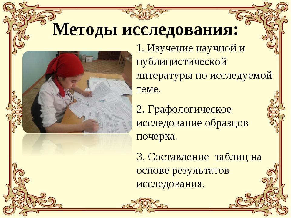 Методы исследования: 1. Изучение научной и публицистической литературы по ис...
