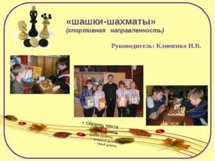 «шашки-шахматы» (спортивная направленность) Руководитель: Клименко И.В.
