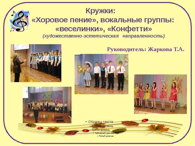 Кружки: «Хоровое пение», вокальные группы: «веселинки», «Конфетти» (художеств...