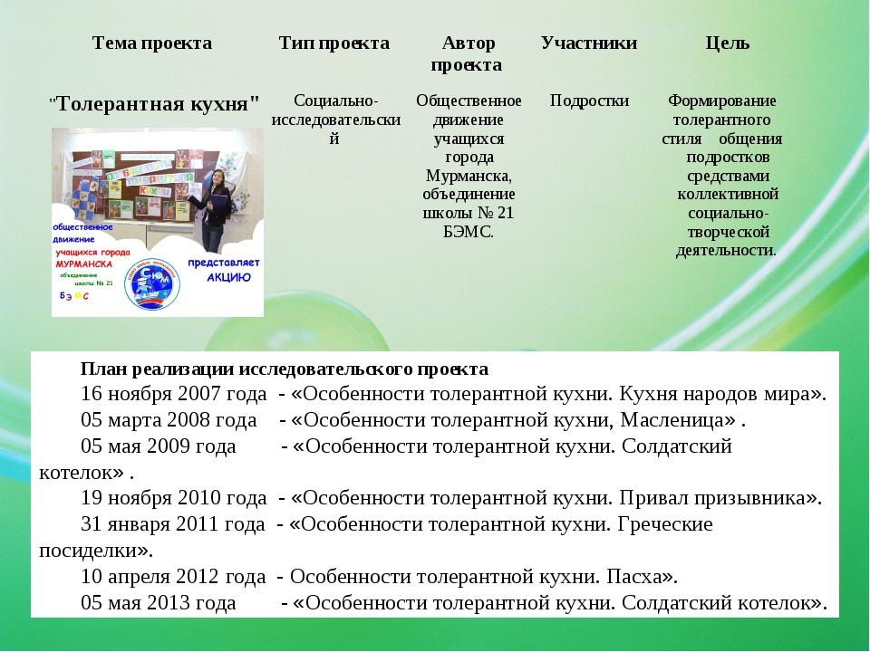 План реализации исследовательского проекта 16 ноября 2007 года - «Особенности...