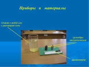 Динамометр Приборы и материалы Цилиндры металлические Стакан с водой или с ра