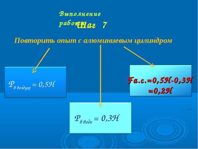 Выполнение работы Шаг 7 Повторить опыт с алюминиевым цилиндром Pв воздухе = 0...