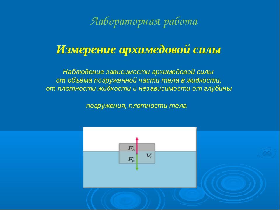 Измерение архимедовой силы Лабораторная работа Наблюдение зависимости архимед...