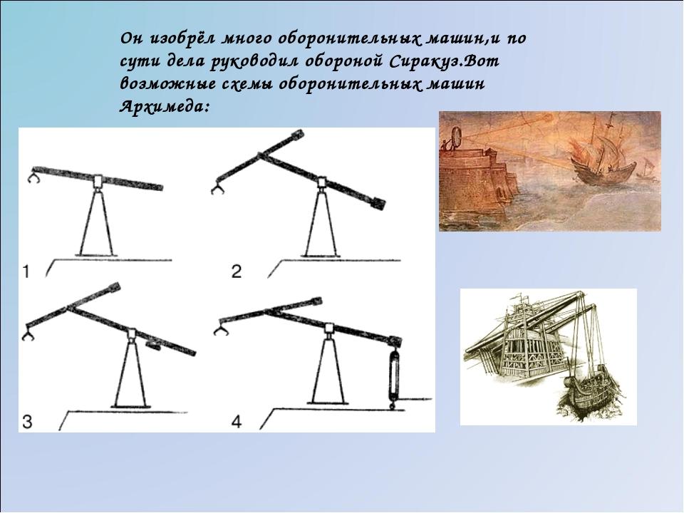 Он изобрёл много оборонительных машин,и по сути дела руководил обороной Сирак...