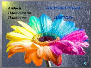 «НЕИЗВЕСТНЫЙ ЦВЕТОК» Андрей Платонович Платонов