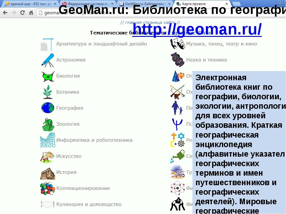 GeoMan.ru: Библиотека по географии http://geoman.ru/ Электронная библиотека...