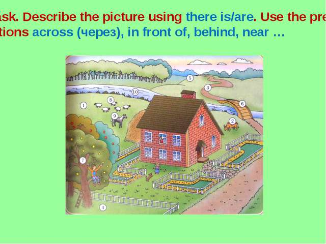 Task. Describe the picture using there is/are. Use the prepo- sitions across...