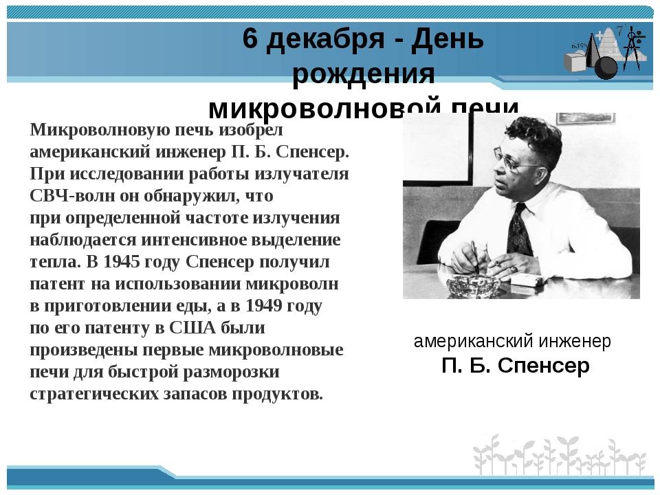 6 декабря - День рождения микроволновой печи американский инженер П.Б.Спенс...