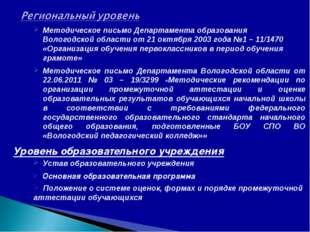 Методическое письмо Департамента образования Вологодской области от 21 октябр