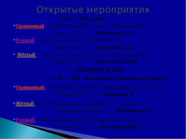 11.20 – 12.00 уроки Оранжевый - урок математики в 1 классе Зинченко И.М. 3 э...
