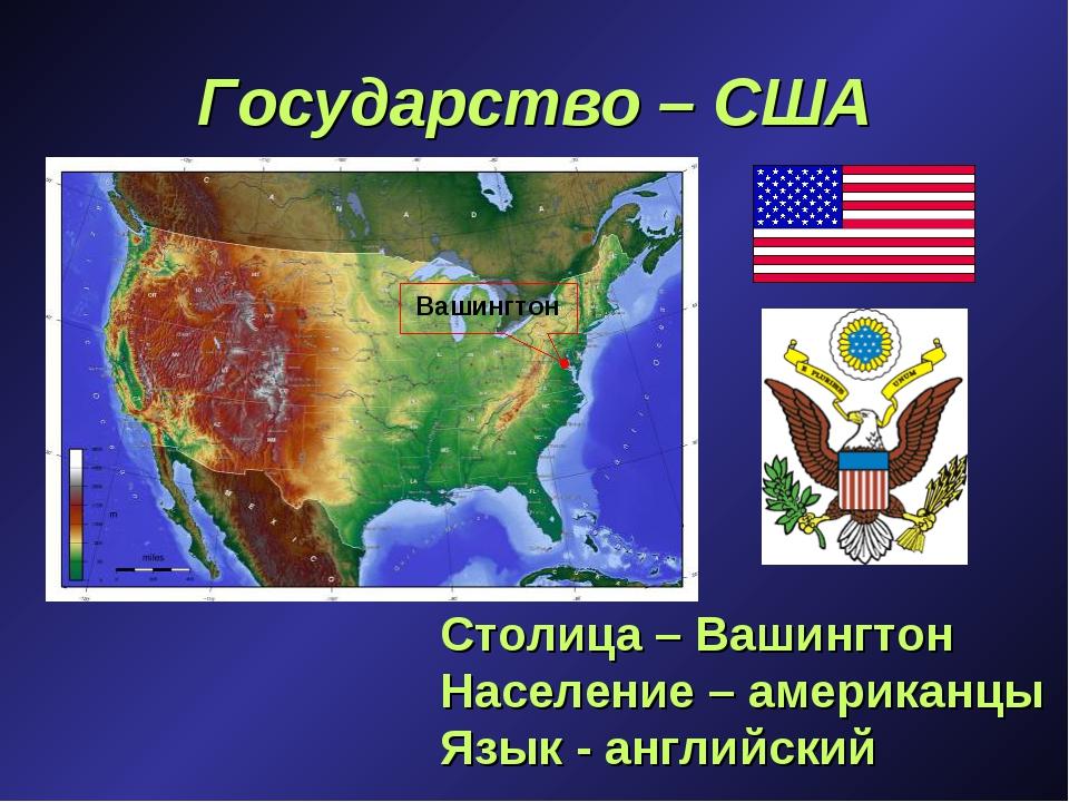 Государство – США Столица – Вашингтон Население – американцы Язык - английски...