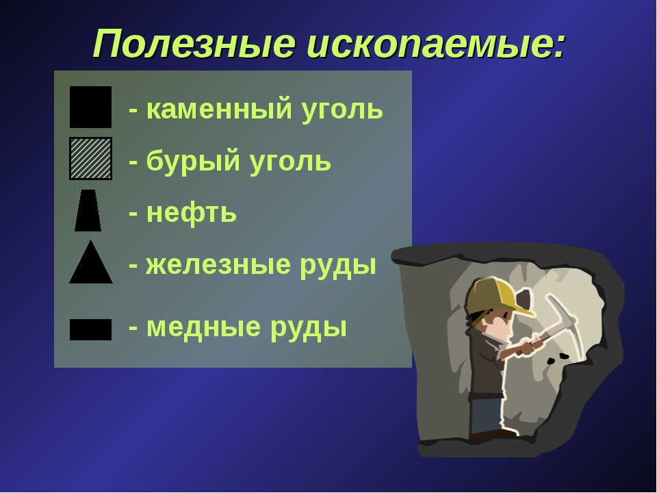 Полезные ископаемые: - каменный уголь - бурый уголь - нефть - железные руды -...