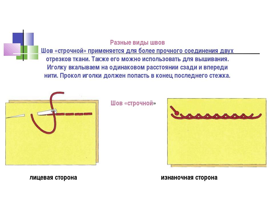 Разные виды швов Шов «строчной» применяется для более прочного соединения дву...