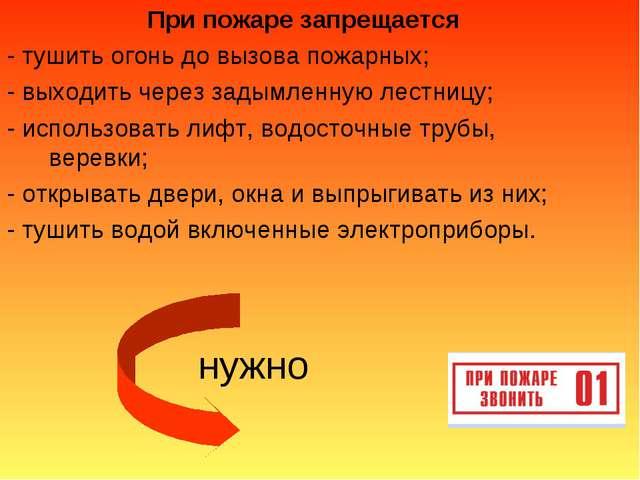 При пожаре запрещается - тушить огонь до вызова пожарных; - выходить через за...