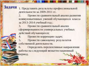 1. Представить результаты профессиональной деятельности за 2009-2011 гг. 2.П