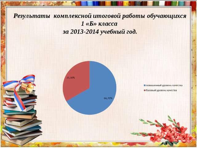 Результаты комплексной итоговой работы обучающихся 1 «Б» класса за 2013-2014...