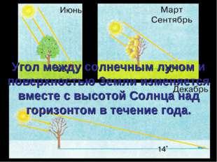 Угол между солнечным лучом и поверхностью Земли изменяется вместе с высотой С