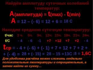 А(амплитуда) = t(max) - t(min) А = 12 – (- 6) = 12 + 6 = tср = - 4 + (- 6) +