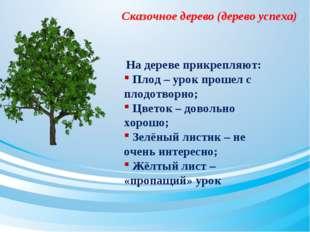 Сказочное дерево (дерево успеха) На дереве прикрепляют: Плод – урок прошел с