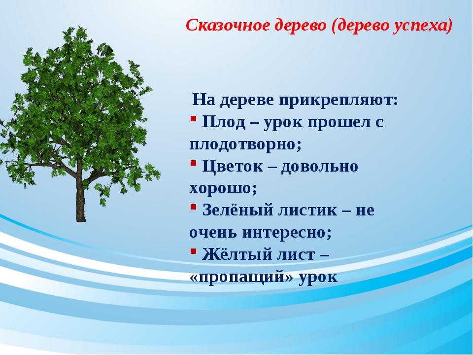 Сказочное дерево (дерево успеха) На дереве прикрепляют: Плод – урок прошел с...