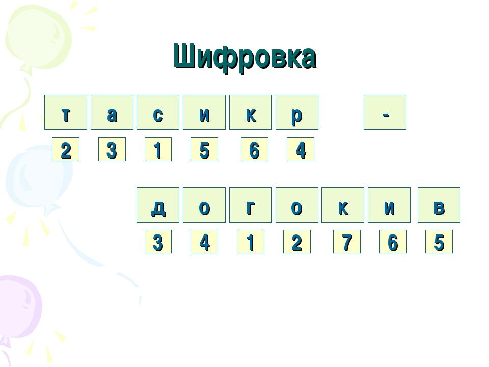 Шифровка т а с и р к 2 3 1 5 6 4 д о г о и к 3 4 1 2 7 6 в 5 -