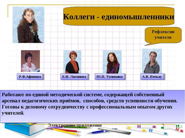 ): Рефлексия учителя Коллеги - единомышленники Работают по единой методическ...