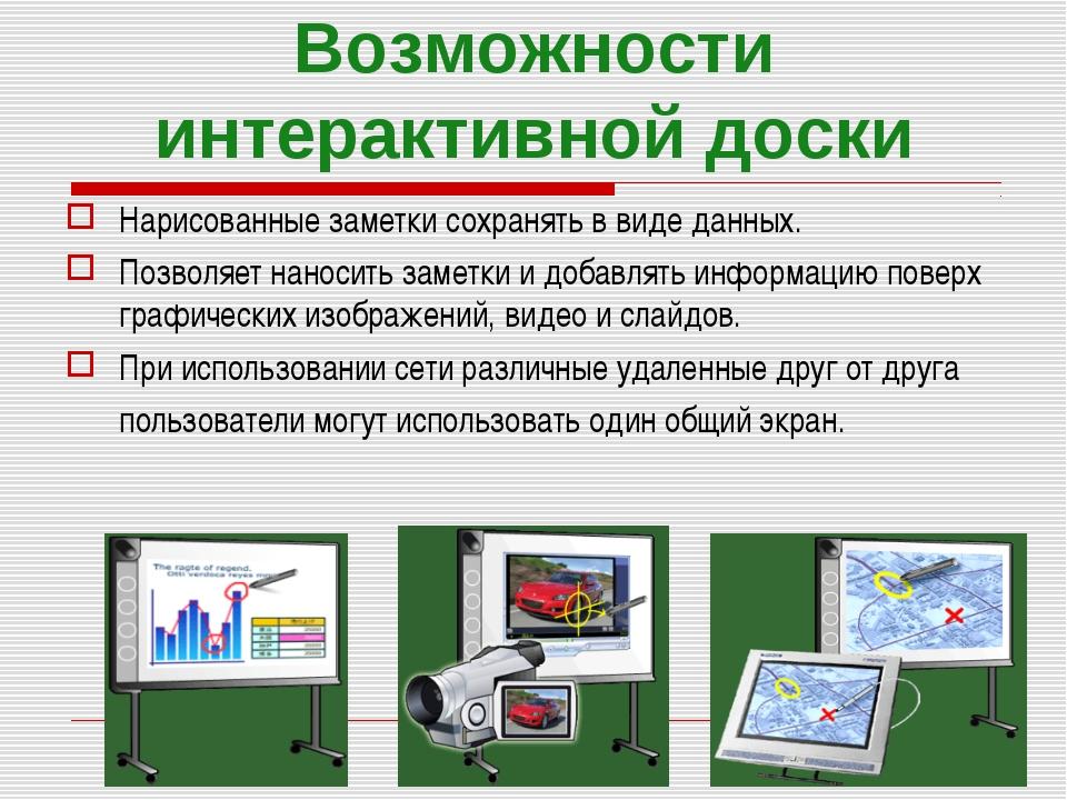 Возможности интерактивной доски Нарисованные заметки сохранять в виде данных....