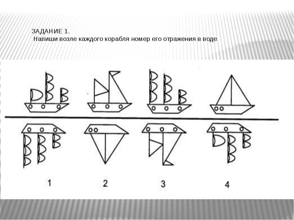 ЗАДАНИЕ 1. Напиши возле каждого корабля номер его отражения в воде