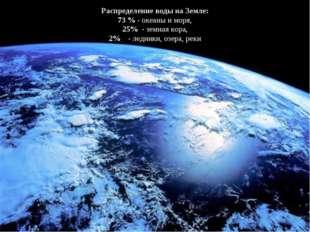 Распределение воды на Земле: 73 % - океаны и моря, 25% - земная кора, 2% - ле