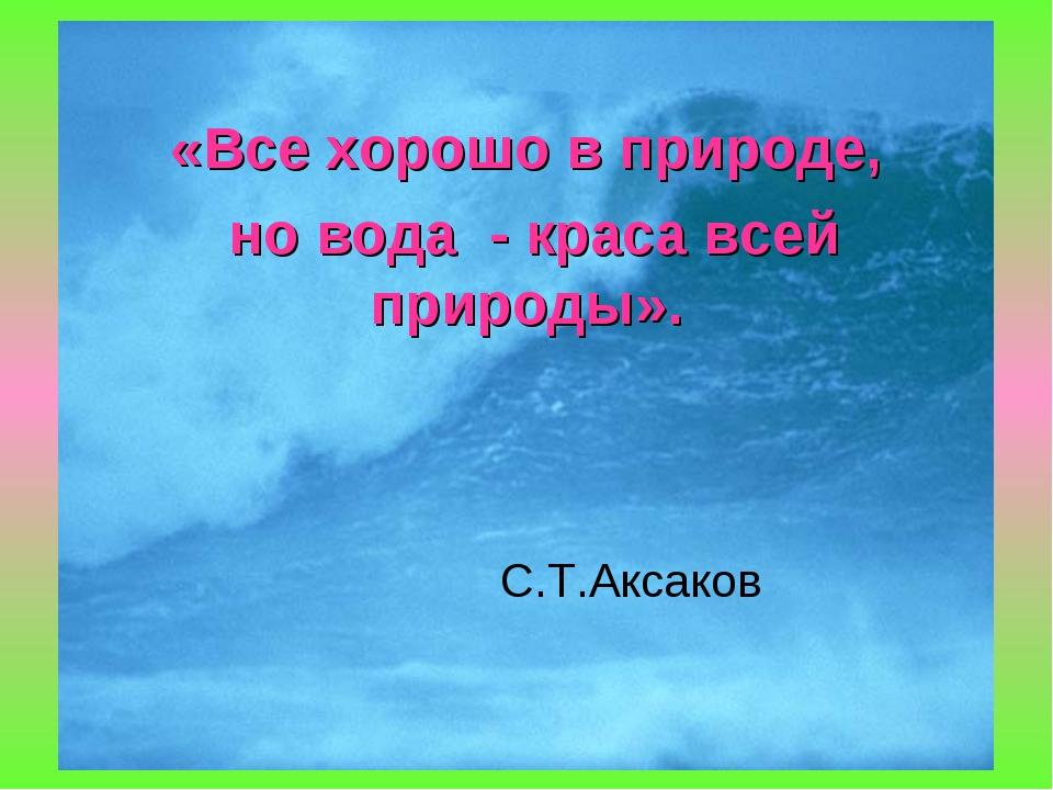 «Все хорошо в природе, но вода - краса всей природы». С.Т.Аксаков