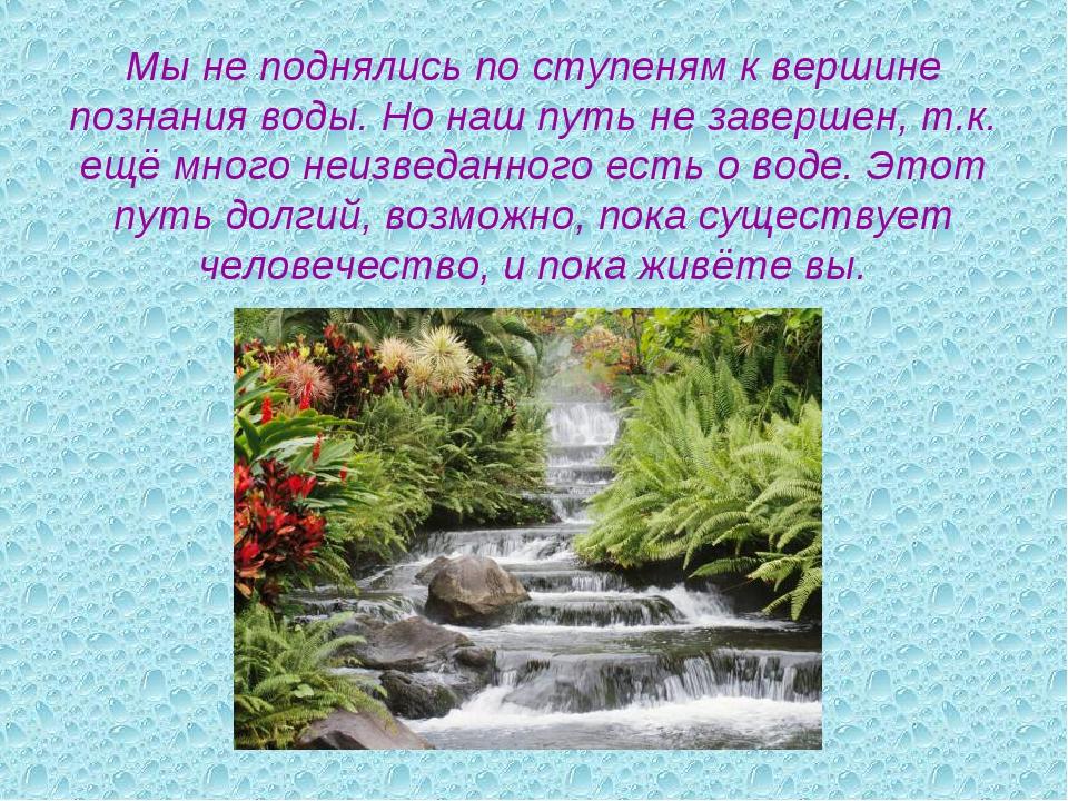 Мы не поднялись по ступеням к вершине познания воды. Но наш путь не завершен,...