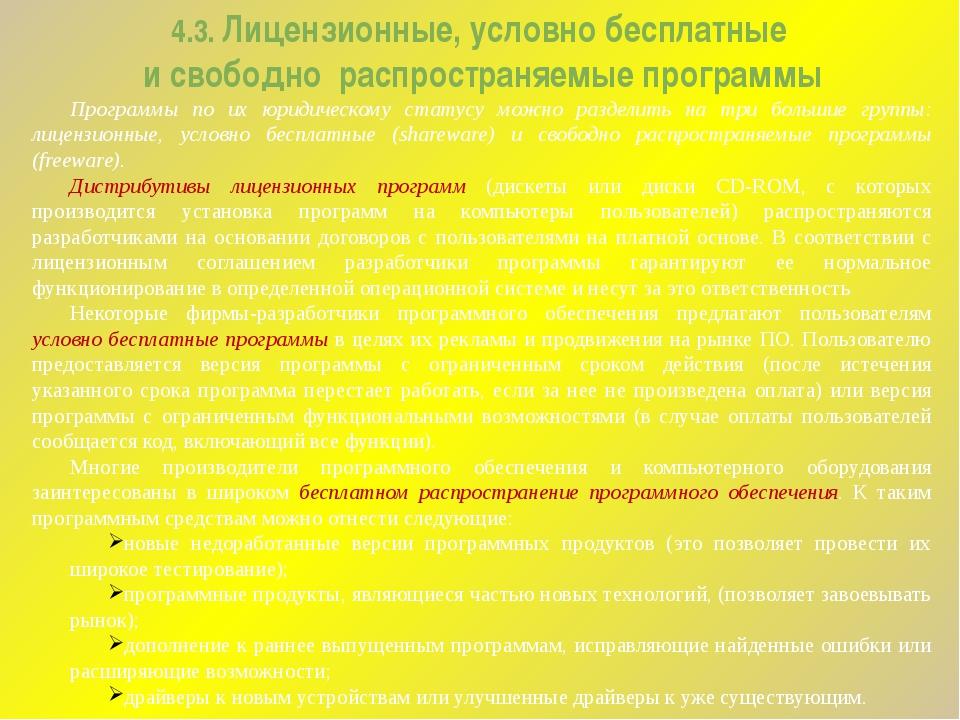 4.3. Лицензионные, условно бесплатные и свободно распространяемые программы П...