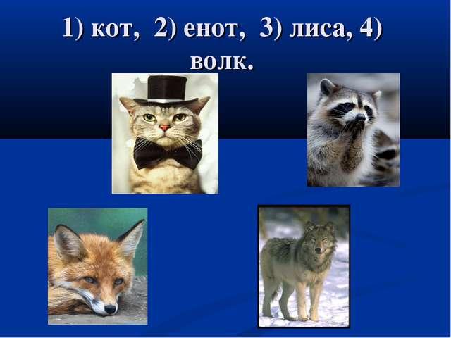 1) кот, 2) енот, 3) лиса, 4) волк.