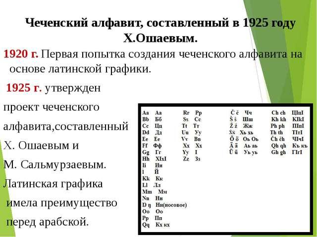 Чеченский алфавит, составленный в 1925 году Х.Ошаевым. 1920 г. Первая попытка...