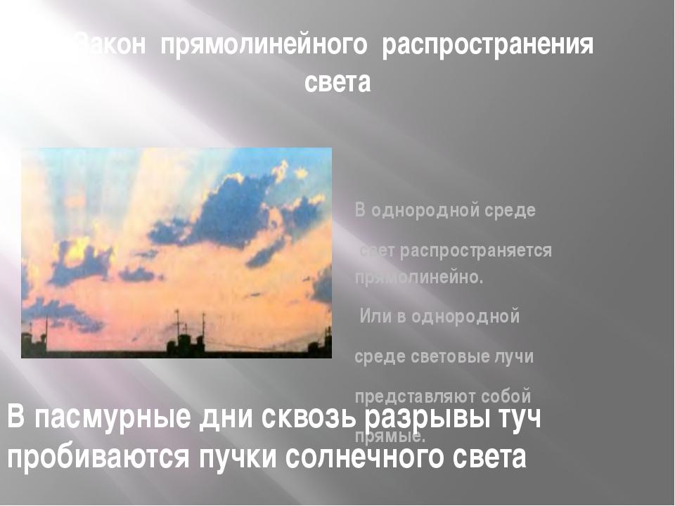 Закон прямолинейного распространения света В однородной среде свет распростра...