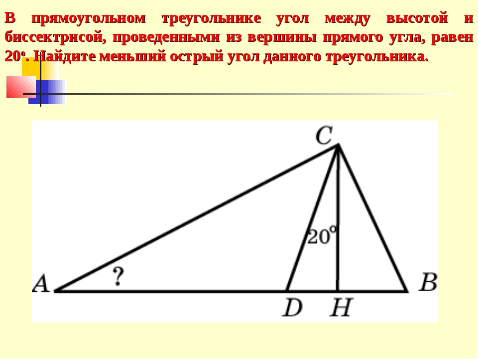 В прямоугольном треугольнике угол между высотой и биссектрисой, проведенными...