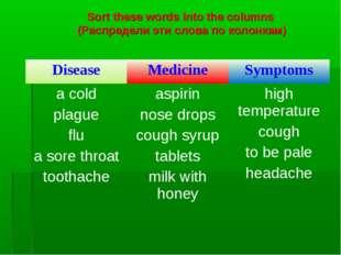 Sort these words into the columns (Распредели эти слова по колонкам) Disease