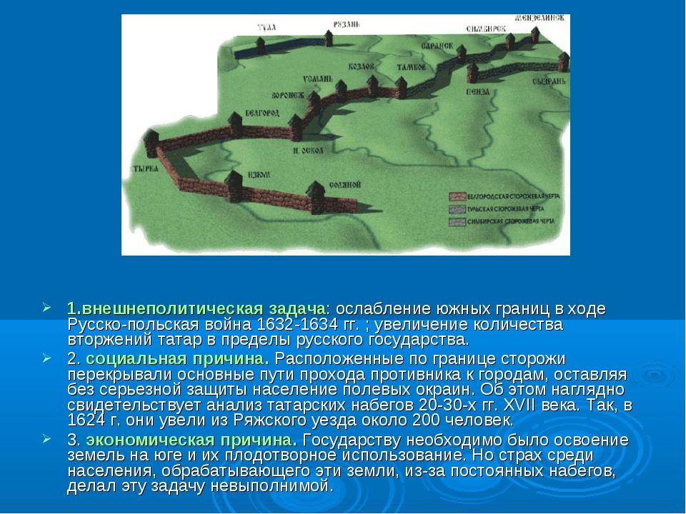 1.внешнеполитическая задача: ослабление южных границ в ходе Русско-польская в...